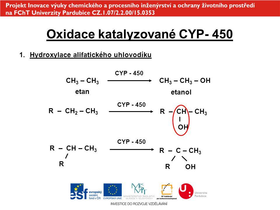 Oxidace katalyzované CYP- 450 1.Hydroxylace alifatického uhlovodíku CH 3 – CH 3 CH 3 – CH 3 – OH etan etanol R – CH 2 – CH 3 R – CH – CH 3 OH R – CH –