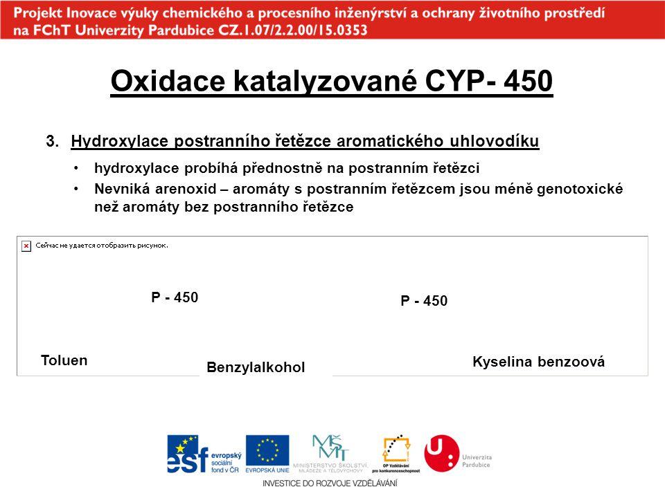 Oxidace katalyzované CYP- 450 3.Hydroxylace postranního řetězce aromatického uhlovodíku hydroxylace probíhá přednostně na postranním řetězci Nevniká a
