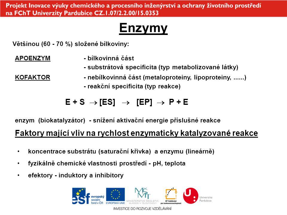 Enzymy Většinou (60 - 70 %) složené bílkoviny: APOENZYM- bílkovinná část - substrátová specificita (typ metabolizované látky) KOFAKTOR- nebílkovinná č
