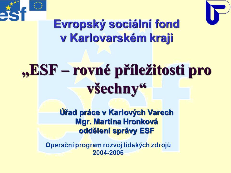 """Evropský sociální fond v Karlovarském kraji """"ESF – rovné příležitosti pro všechny Úřad práce v Karlových Varech Mgr."""