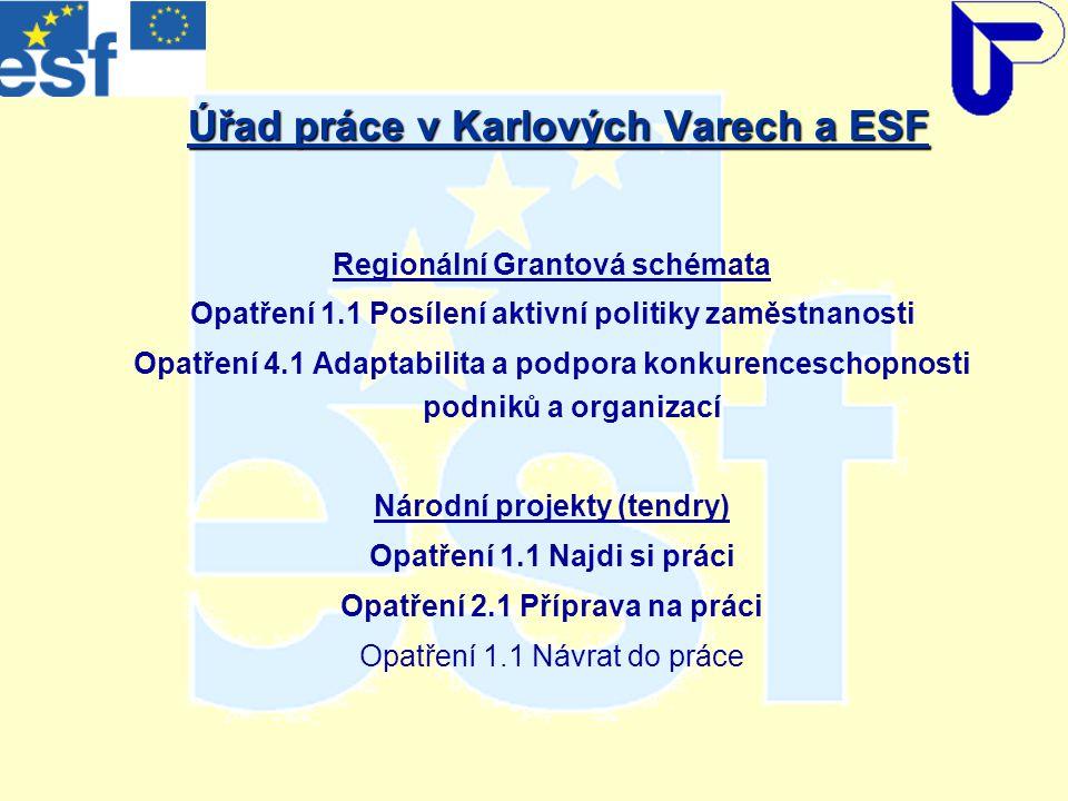 Úřad práce v Karlových Varech a ESF Regionální Grantová schémata Opatření 1.1 Posílení aktivní politiky zaměstnanosti Opatření 4.1 Adaptabilita a podpora konkurenceschopnosti podniků a organizací Národní projekty (tendry) Opatření 1.1 Najdi si práci Opatření 2.1 Příprava na práci Opatření 1.1 Návrat do práce