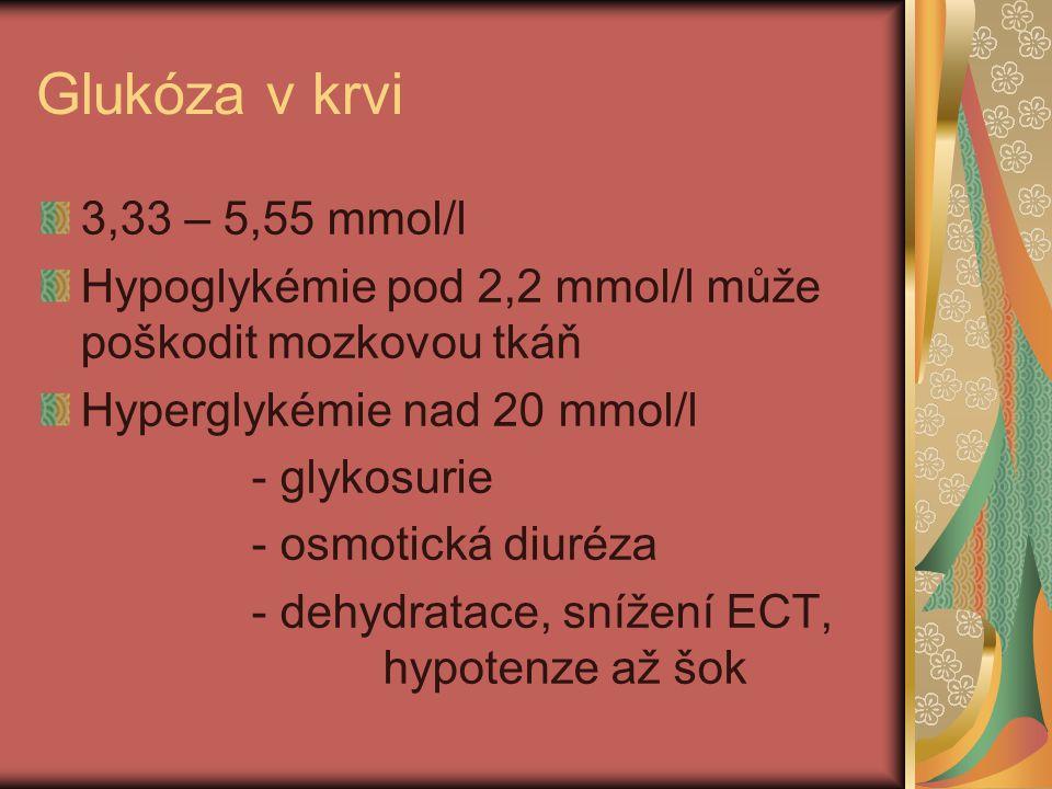 Glukóza v krvi 3,33 – 5,55 mmol/l Hypoglykémie pod 2,2 mmol/l může poškodit mozkovou tkáň Hyperglykémie nad 20 mmol/l - glykosurie - osmotická diuréza