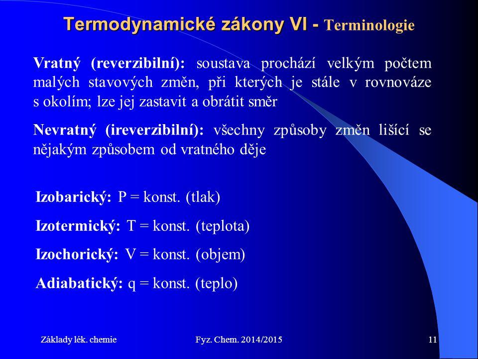 Základy lék. chemieFyz. Chem. 2014/201511 Termodynamické zákony VI - Termodynamické zákony VI - Terminologie Vratný (reverzibilní): soustava prochází