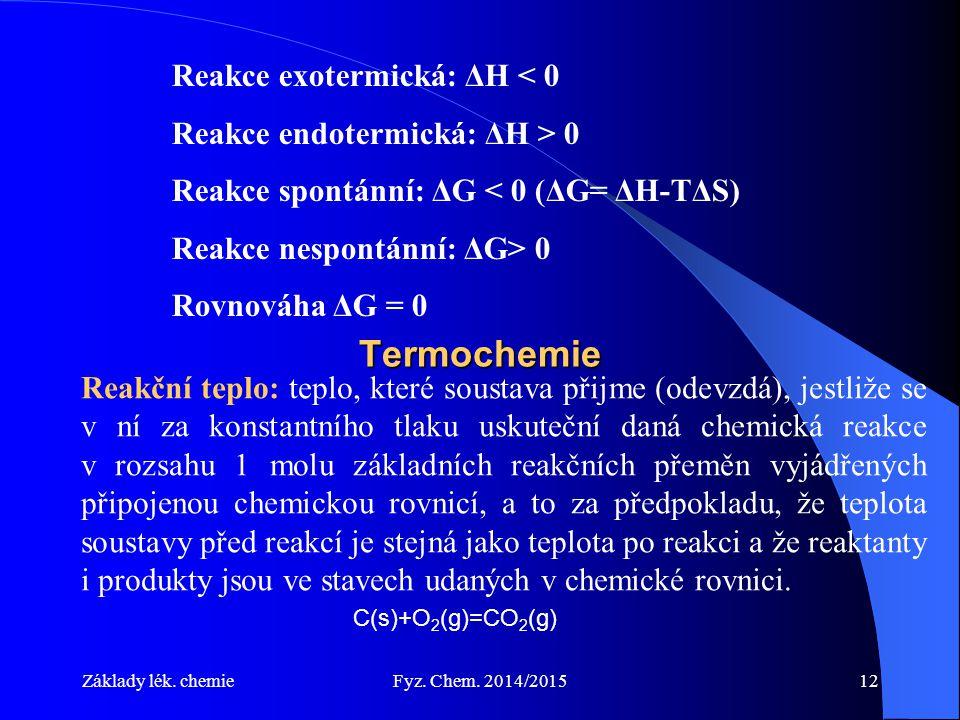 Základy lék. chemieFyz. Chem. 2014/201512 Termochemie Reakční teplo: teplo, které soustava přijme (odevzdá), jestliže se v ní za konstantního tlaku us