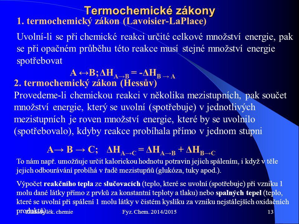 Základy lék. chemieFyz. Chem. 2014/201513 Termochemické zákony 1. termochemický zákon (Lavoisier-LaPlace) Uvolní-li se při chemické reakci určité celk