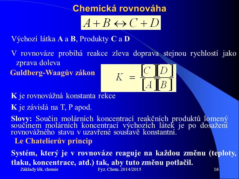 Základy lék. chemieFyz. Chem. 2014/201516 Chemická rovnováha Výchozí látka A a B, Produkty C a D V rovnováze probíhá reakce zleva doprava stejnou rych