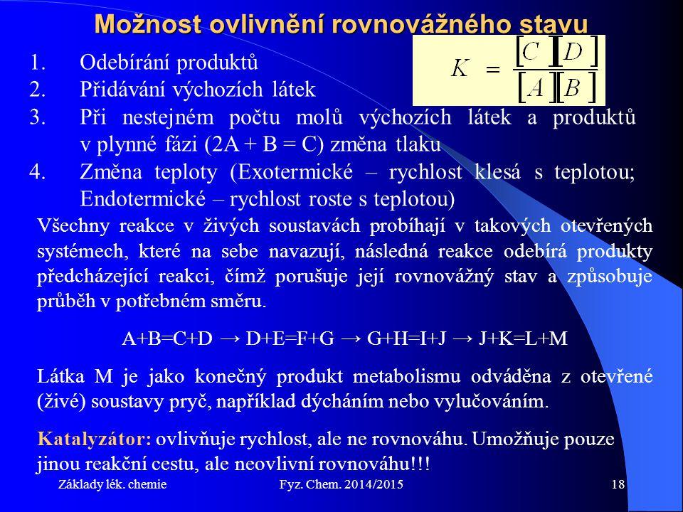Základy lék. chemieFyz. Chem. 2014/201518 Možnost ovlivnění rovnovážného stavu 1.Odebírání produktů 2.Přidávání výchozích látek 3.Při nestejném počtu