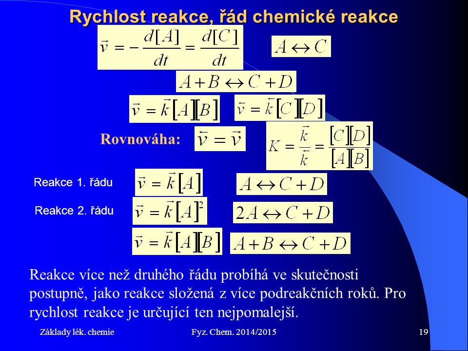 Základy lék. chemieFyz. Chem. 2014/201519 Rychlost reakce, řád chemické reakce Rovnováha: Reakce více než druhého řádu probíhá ve skutečnosti postupně