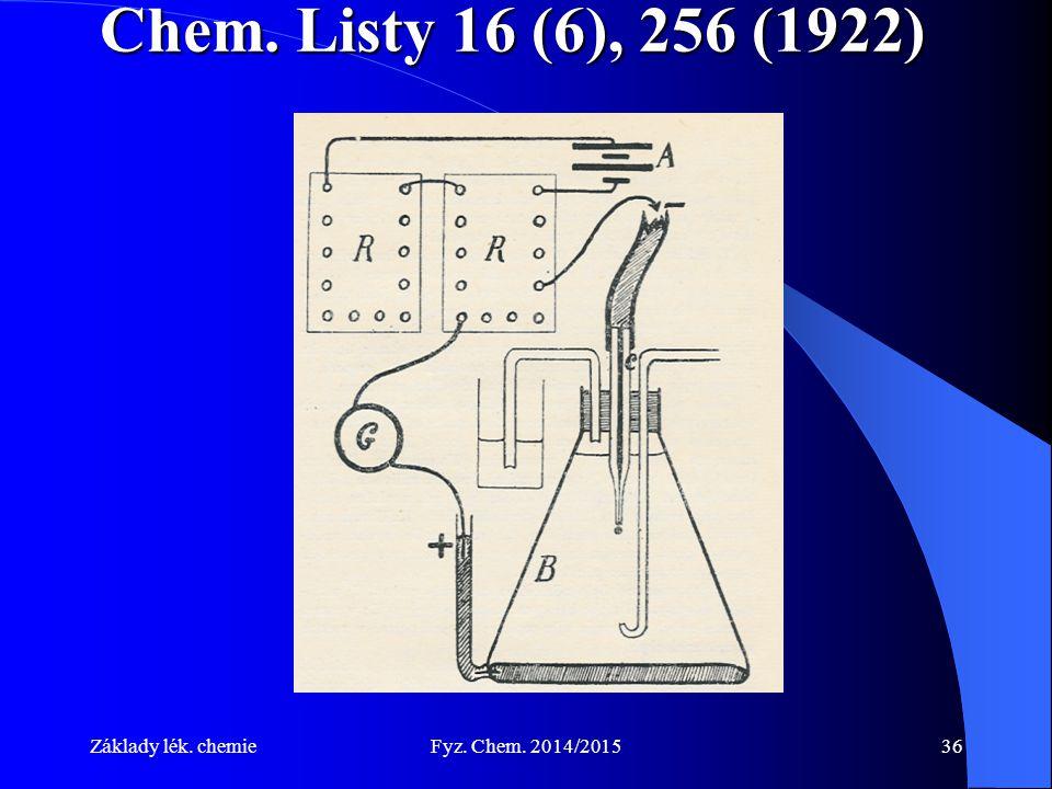 Základy lék. chemieFyz. Chem. 2014/201536 Chem. Listy 16 (6), 256 (1922)
