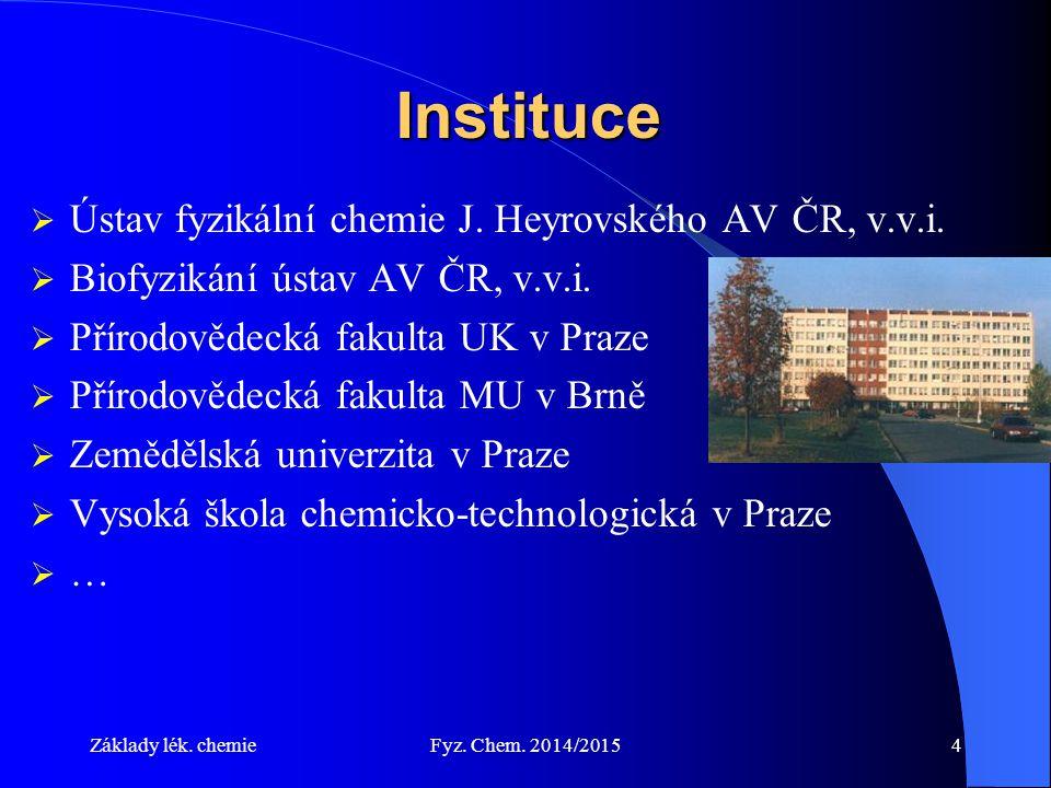 Základy lék.chemieFyz. Chem. 2014/20154 Instituce  Ústav fyzikální chemie J.