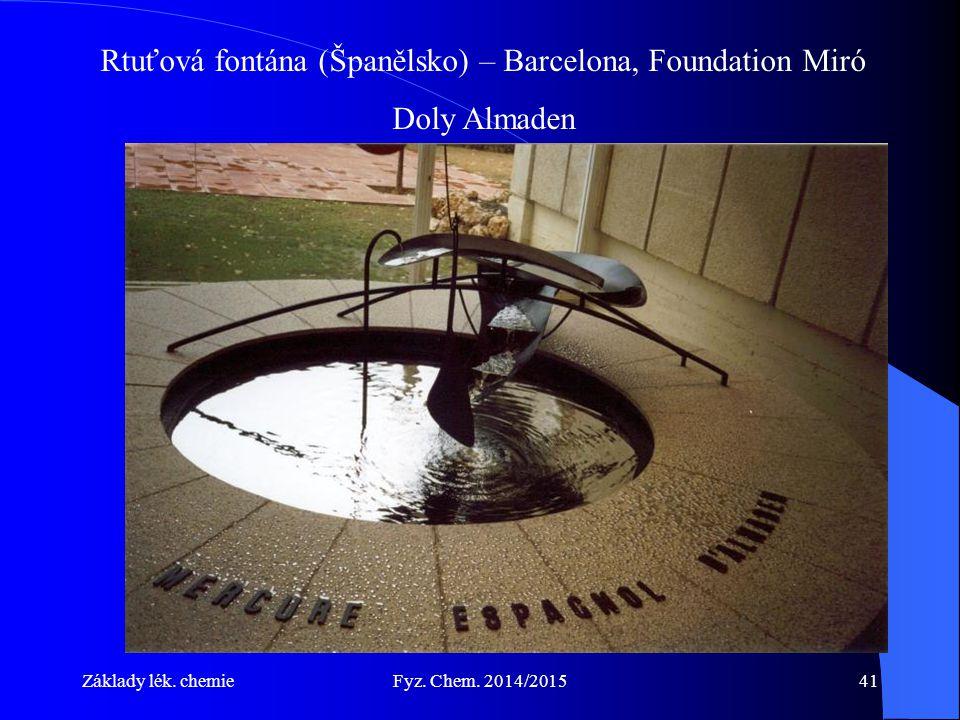 Základy lék. chemieFyz. Chem. 2014/201541 Rtuťová fontána (Španělsko) – Barcelona, Foundation Miró Doly Almaden