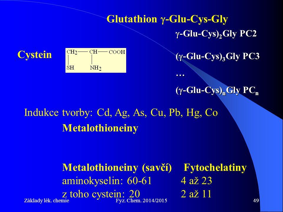 Základy lék. chemieFyz. Chem. 2014/201549 Metalothioneiny Metalothioneiny (savčí) Fytochelatiny aminokyselin: 60-614 až 23 z toho cystein: 202 až 11 G
