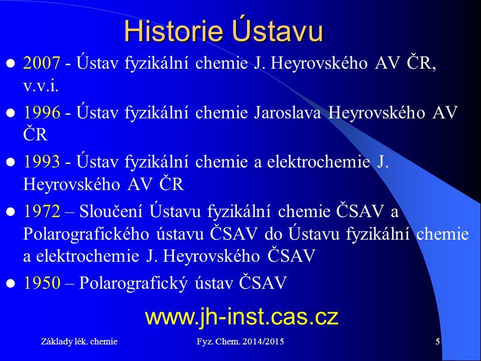 Základy lék.chemieFyz. Chem. 2014/20155 Historie Ústavu 2007 - Ústav fyzikální chemie J.
