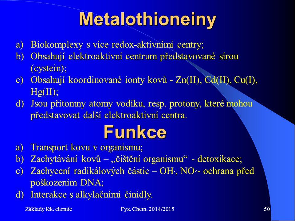 Základy lék. chemieFyz. Chem. 2014/201550Metalothioneiny a)Biokomplexy s více redox-aktivními centry; b)Obsahují elektroaktivní centrum představované