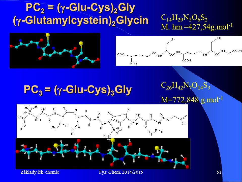 Základy lék. chemieFyz. Chem. 2014/201551 PC 2 = ( γ -Glu-Cys) 2 Gly ( γ -Glutamylcystein) 2 Glycin C 14 H 29 N 5 O 6 S 2 M. hm.=427,54g.mol -1 PC 3 =