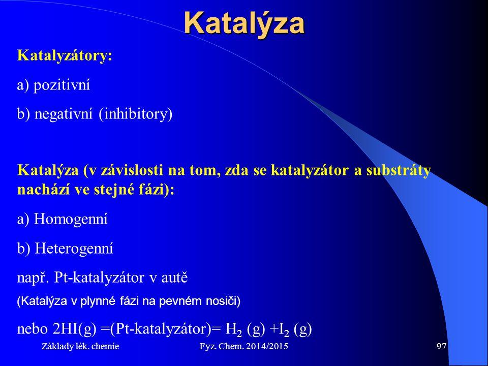 Základy lék. chemieFyz. Chem. 2014/201597Katalýza Katalyzátory: a) pozitivní b) negativní (inhibitory) Katalýza (v závislosti na tom, zda se katalyzát
