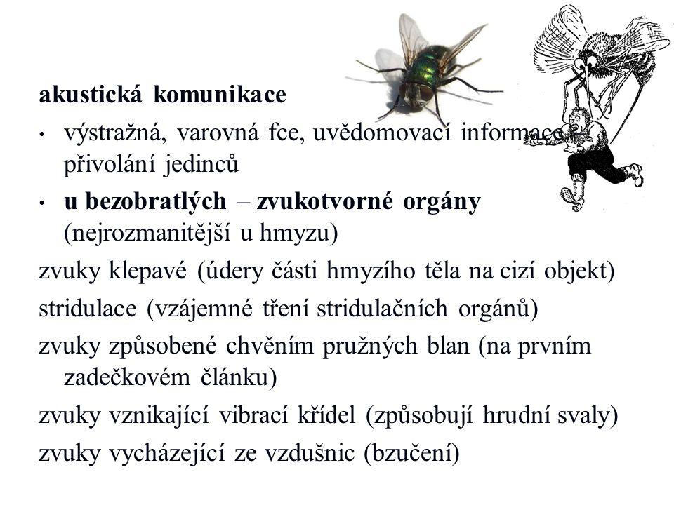 akustická komunikace výstražná, varovná fce, uvědomovací informace – přivolání jedinců u bezobratlých – zvukotvorné orgány (nejrozmanitější u hmyzu) z