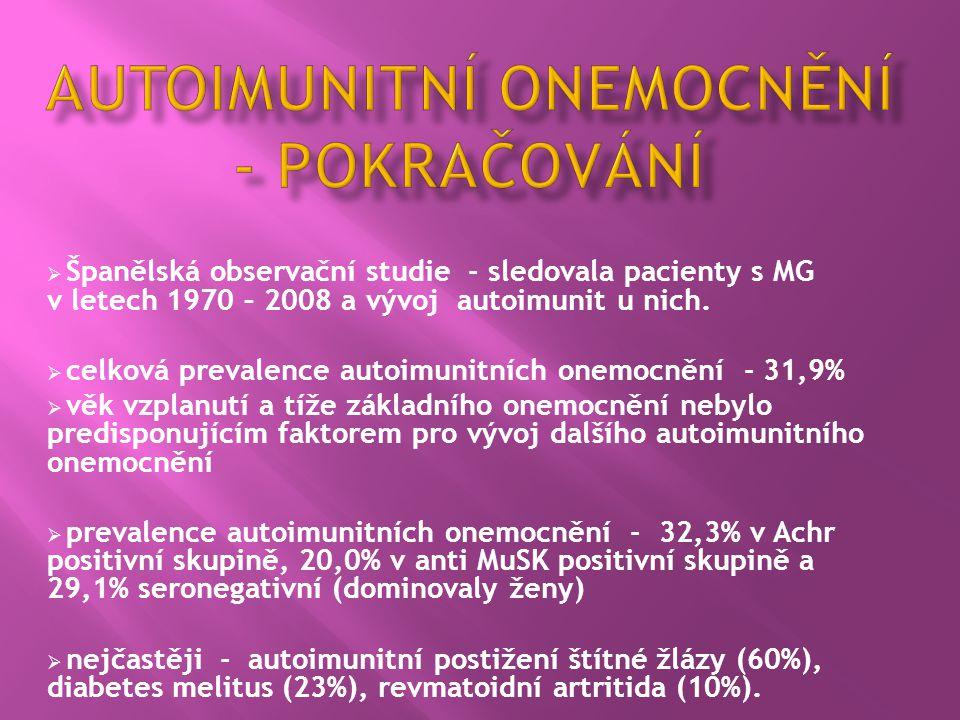  Španělská observační studie - sledovala pacienty s MG v letech 1970 – 2008 a vývoj autoimunit u nich.  celková prevalence autoimunitních onemocnění