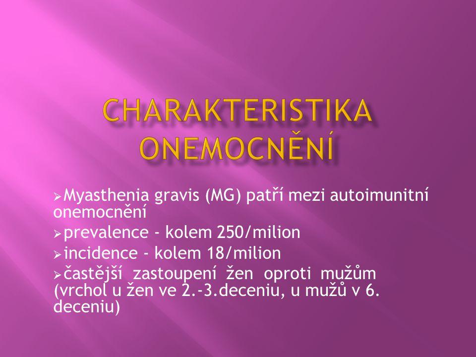  Myasthenia gravis (MG) patří mezi autoimunitní onemocnění  prevalence - kolem 250/milion  incidence - kolem 18/milion  častější zastoupení žen op