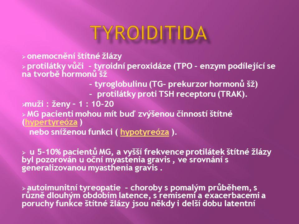  onemocnění štítné žlázy  protilátky vůči - tyroidní peroxidáze (TPO - enzym podílející se na tvorbě hormonů šž - tyroglobulinu (TG- prekurzor hormo