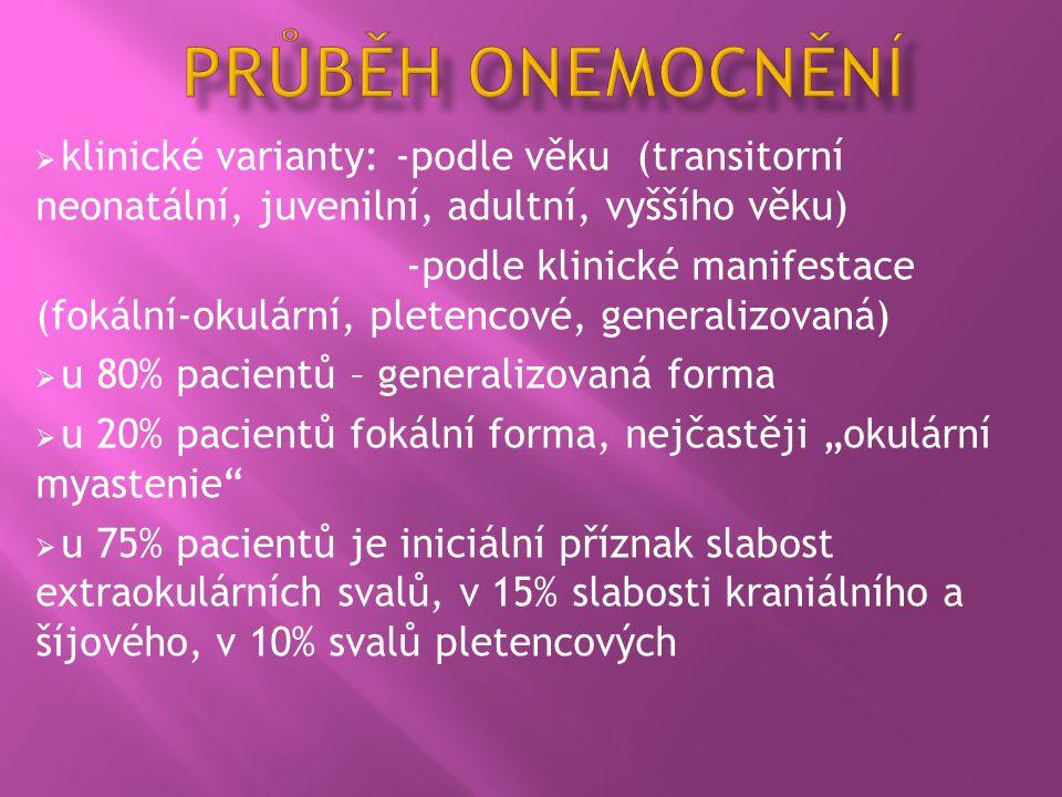  klinické varianty: -podle věku (transitorní neonatální, juvenilní, adultní, vyššího věku) -podle klinické manifestace (fokální-okulární, pletencové,