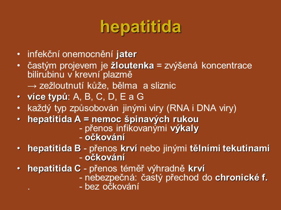 DNA viry infekční mononukleózainfekční mononukleóza –DNA virus Epstein-Barrové slinami –přenos slinami (nemoc z líbání) –změna bílých krvinek –změna bílých krvinek → imunitní systém se je snaží zlikvidovat –počáteční příznaky podobné angíně únava –vysoká teplota, únava → odpočinek a klid jater a sleziny –onemocnění jater a sleziny → nutná přísná dieta latentnímstavu propuknutí –mnoho lidí infikováno - virus v latentním stavu → oslabení imunity, stres,...