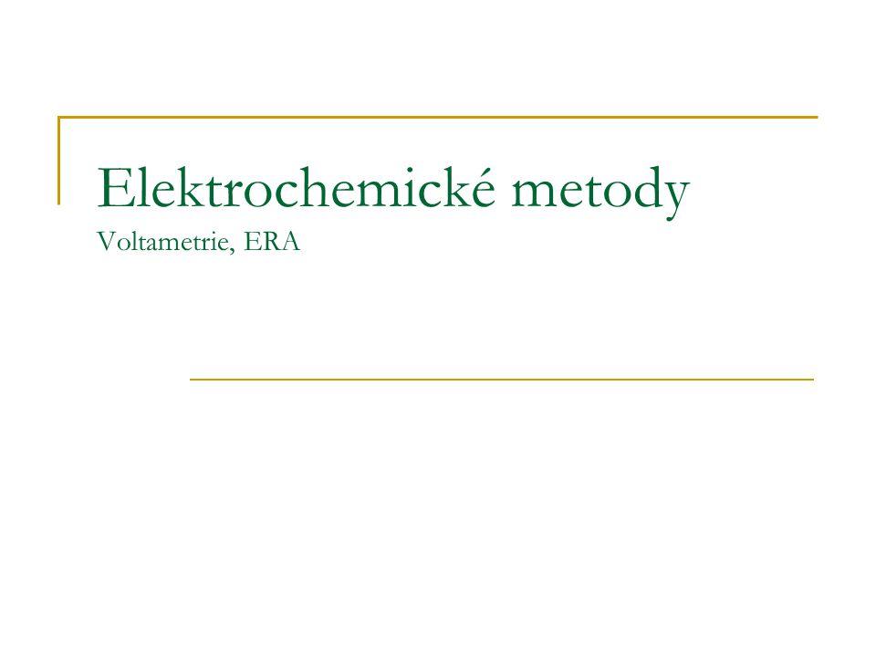 Elektrogravimetrie Přímá metoda Dochází k elchem ději I ≠ 0, nerovnovážný stav Úplné vyloučení stanovovaného kovu na pracovní elektrodě Založeno na elektrolýze (Me n+ +ne -  Me 0 ) Pt síťková elektroda