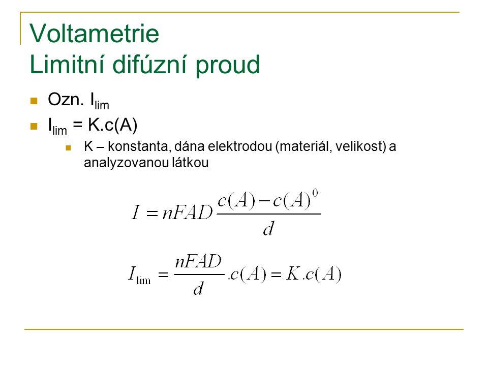 Voltametrie Limitní difúzní proud Ozn. I lim I lim = K.c(A) K – konstanta, dána elektrodou (materiál, velikost) a analyzovanou látkou
