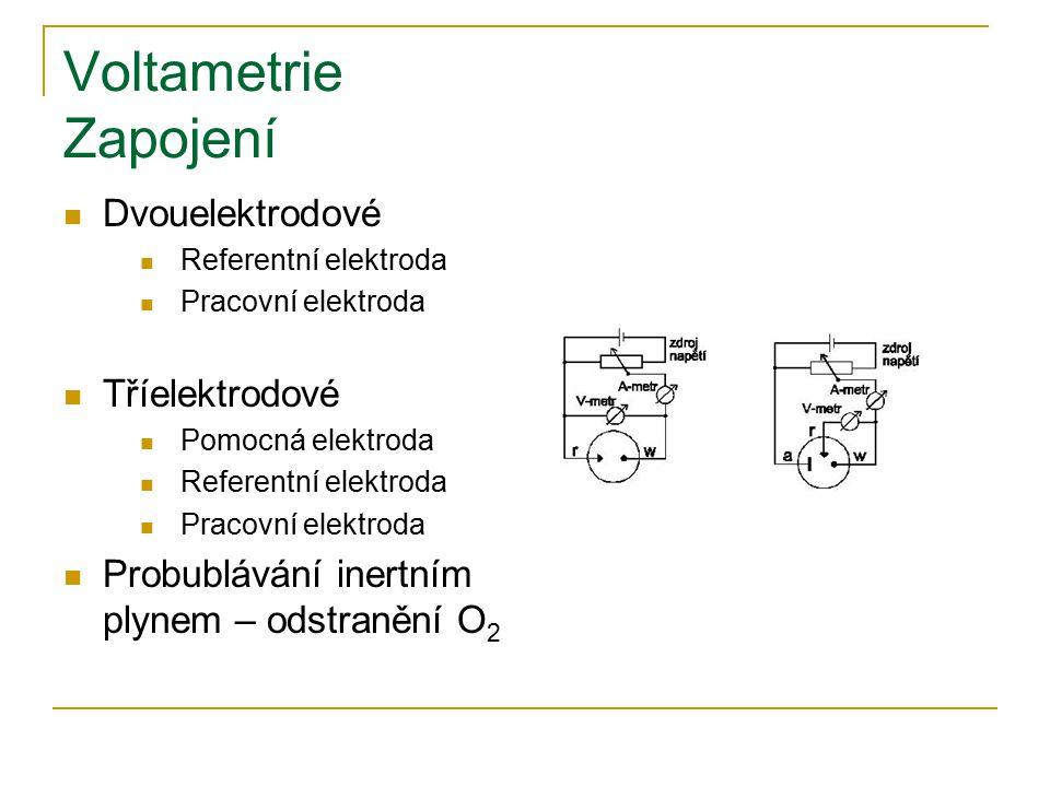 Voltametrie Zapojení Dvouelektrodové Referentní elektroda Pracovní elektroda Tříelektrodové Pomocná elektroda Referentní elektroda Pracovní elektroda