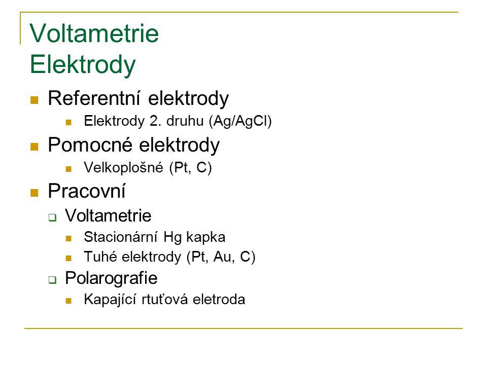 Voltametrie Elektrody Referentní elektrody Elektrody 2. druhu (Ag/AgCl) Pomocné elektrody Velkoplošné (Pt, C) Pracovní  Voltametrie Stacionární Hg ka