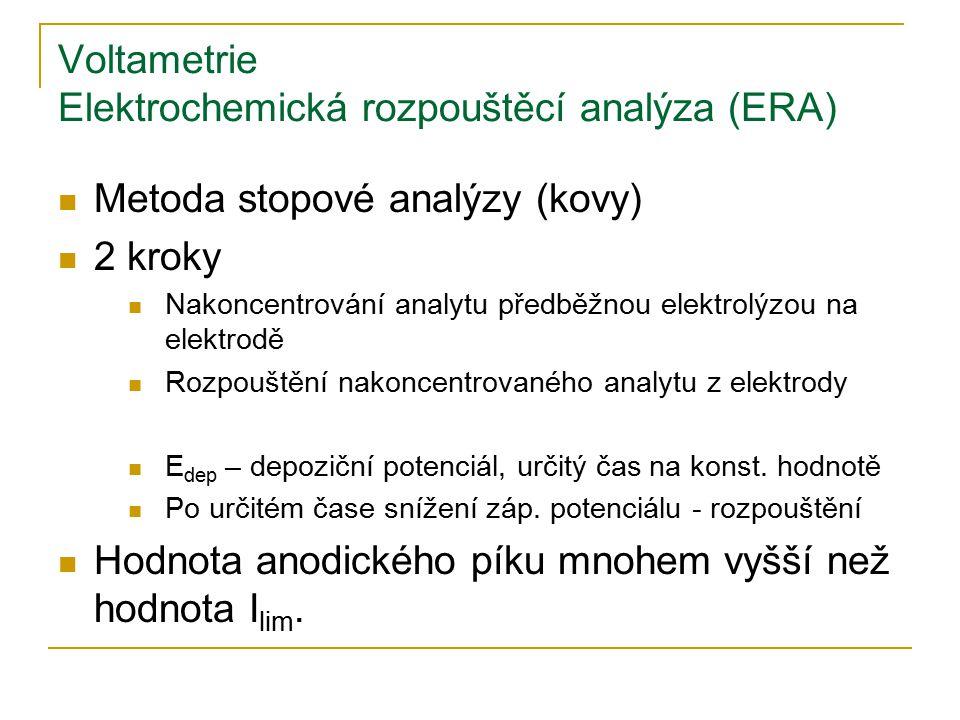 Voltametrie Elektrochemická rozpouštěcí analýza (ERA) Metoda stopové analýzy (kovy) 2 kroky Nakoncentrování analytu předběžnou elektrolýzou na elektro