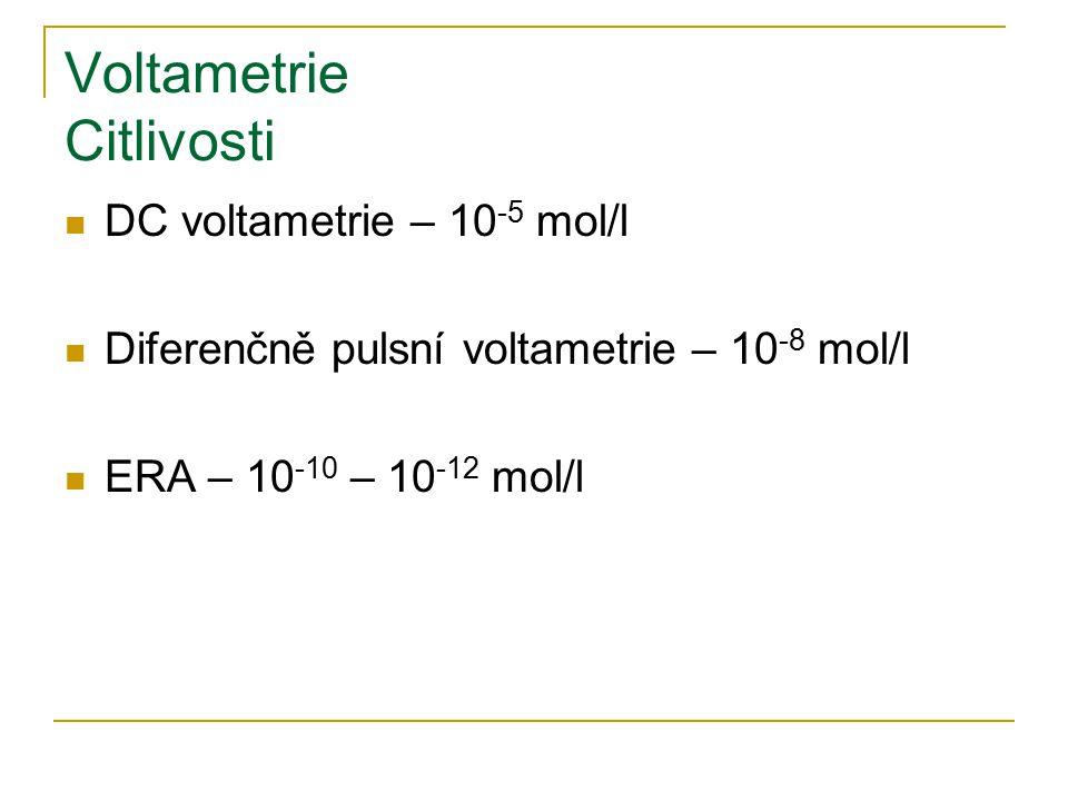 Voltametrie Citlivosti DC voltametrie – 10 -5 mol/l Diferenčně pulsní voltametrie – 10 -8 mol/l ERA – 10 -10 – 10 -12 mol/l