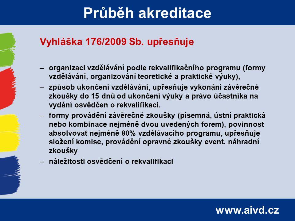 www.aivd.cz Průběh akreditace Vyhláška 176/2009 Sb. upřesňuje –organizaci vzdělávání podle rekvalifikačního programu (formy vzdělávání, organizování t