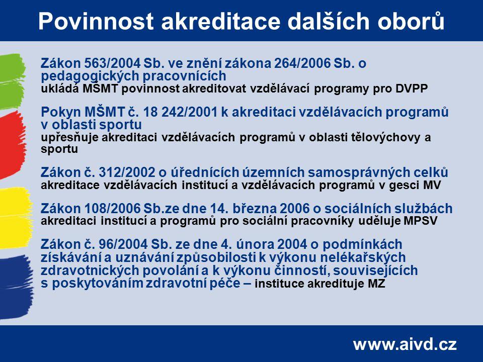 www.aivd.cz Povinnost akreditace dalších oborů Zákon 563/2004 Sb. ve znění zákona 264/2006 Sb. o pedagogických pracovnících ukládá MŠMT povinnost akre