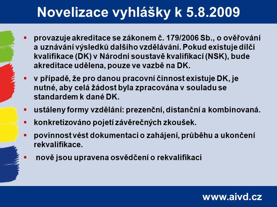 www.aivd.cz Novelizace vyhlášky k 5.8.2009  provazuje akreditace se zákonem č. 179/2006 Sb., o ověřování a uznávání výsledků dalšího vzdělávání. Poku