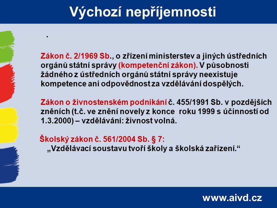 www.aivd.cz Výchozí nepříjemnosti. Zákon č. 2/1969 Sb., o zřízení ministerstev a jiných ústředních orgánů státní správy (kompetenční zákon). V působno