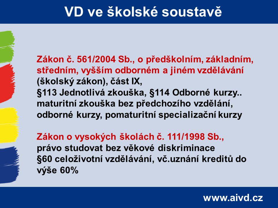 www.aivd.cz VD ve školské soustavě Zákon č. 561/2004 Sb., o předškolním, základním, středním, vyšším odborném a jiném vzdělávání (školský zákon), část