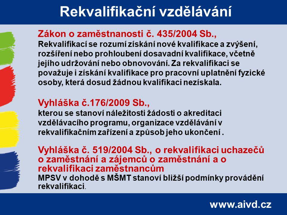 www.aivd.cz Rekvalifikační vzdělávání Zákon o zaměstnanosti č. 435/2004 Sb., Rekvalifikací se rozumí získání nové kvalifikace a zvýšení, rozšíření neb