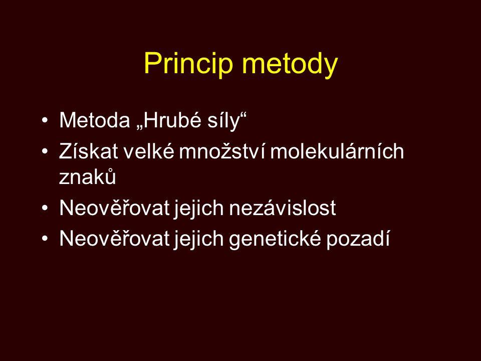 """Princip metody Metoda """"Hrubé síly"""" Získat velké množství molekulárních znaků Neověřovat jejich nezávislost Neověřovat jejich genetické pozadí"""
