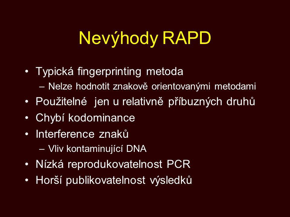 Nevýhody RAPD Typická fingerprinting metoda –Nelze hodnotit znakově orientovanými metodami Použitelné jen u relativně příbuzných druhů Chybí kodominan