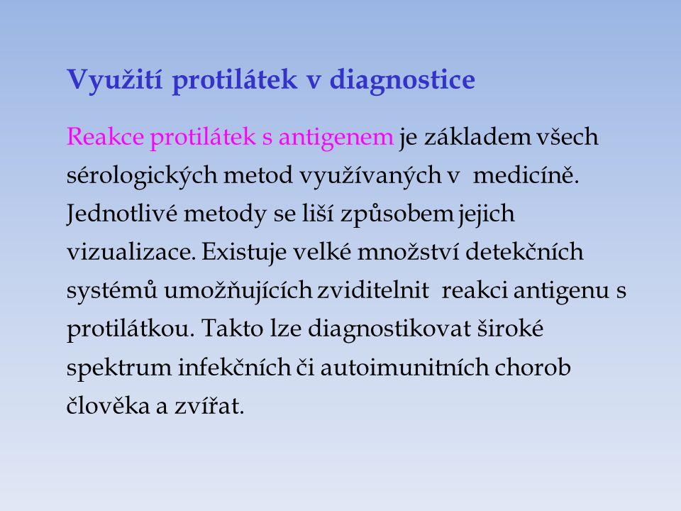 Využití protilátek v diagnostice Reakce protilátek s antigenem je základem všech sérologických metod využívaných v medicíně. Jednotlivé metody se liší