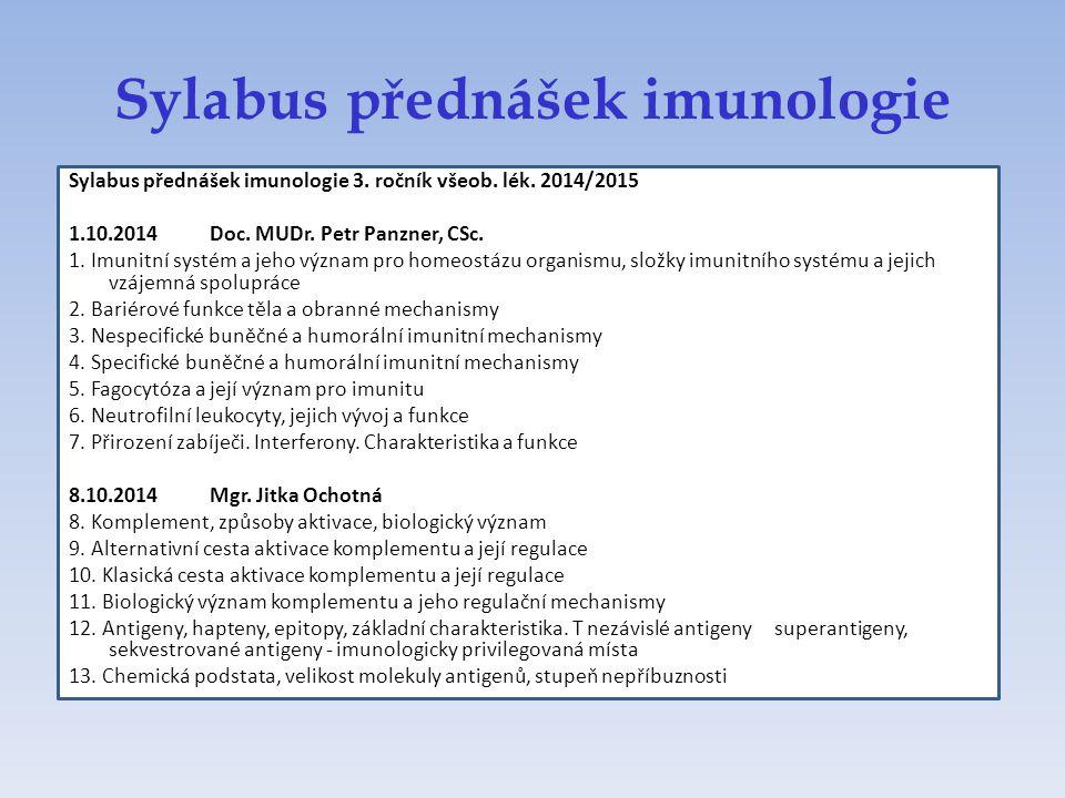 Sylabus přednášek imunologie Sylabus přednášek imunologie 3. ročník všeob. lék. 2014/2015 1.10.2014 Doc. MUDr. Petr Panzner, CSc. 1. Imunitní systém a