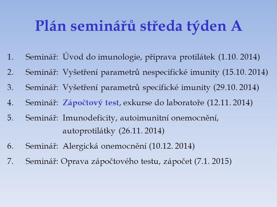 Plán seminářů středa týden A 1.Seminář:Úvod do imunologie, příprava protilátek (1.10. 2014) 2.Seminář:Vyšetření parametrů nespecifické imunity (15.10.