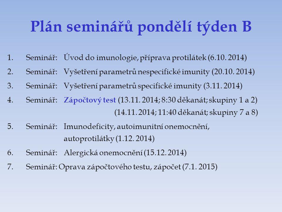 Plán seminářů pondělí týden B 1.Seminář:Úvod do imunologie, příprava protilátek (6.10. 2014) 2.Seminář:Vyšetření parametrů nespecifické imunity (20.10