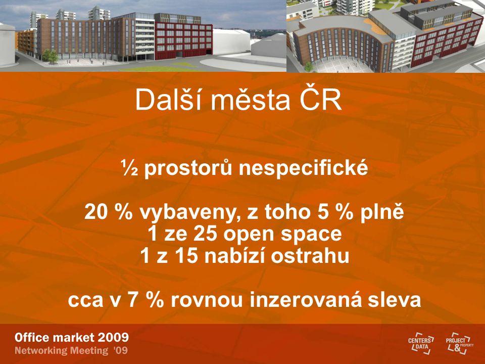 Další města ČR ½ prostorů nespecifické 20 % vybaveny, z toho 5 % plně 1 ze 25 open space 1 z 15 nabízí ostrahu cca v 7 % rovnou inzerovaná sleva