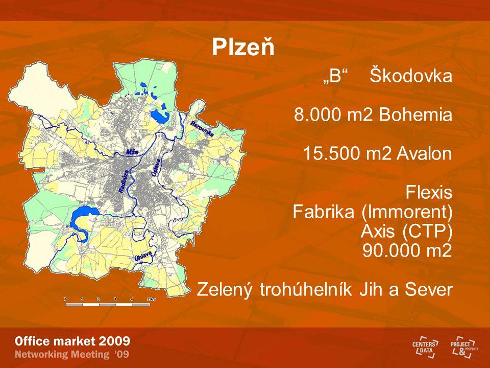 """Plzeň """"B"""" Škodovka 8.000 m2 Bohemia 15.500 m2 Avalon Flexis Fabrika (Immorent) Axis (CTP) 90.000 m2 Zelený trohúhelník Jih a Sever"""