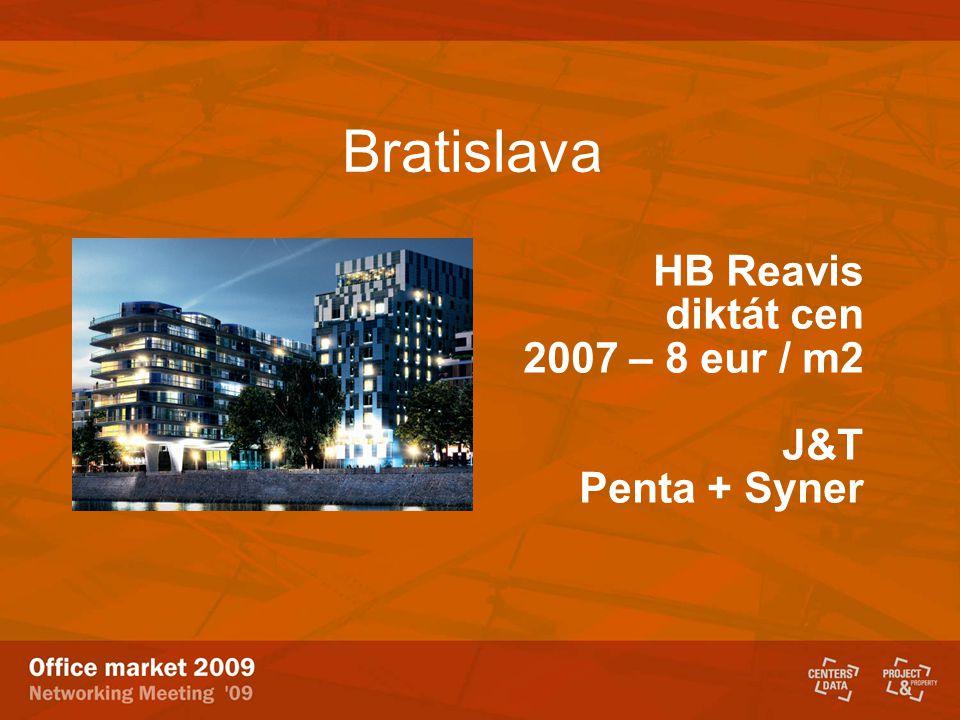 Bratislava HB Reavis diktát cen 2007 – 8 eur / m2 J&T Penta + Syner