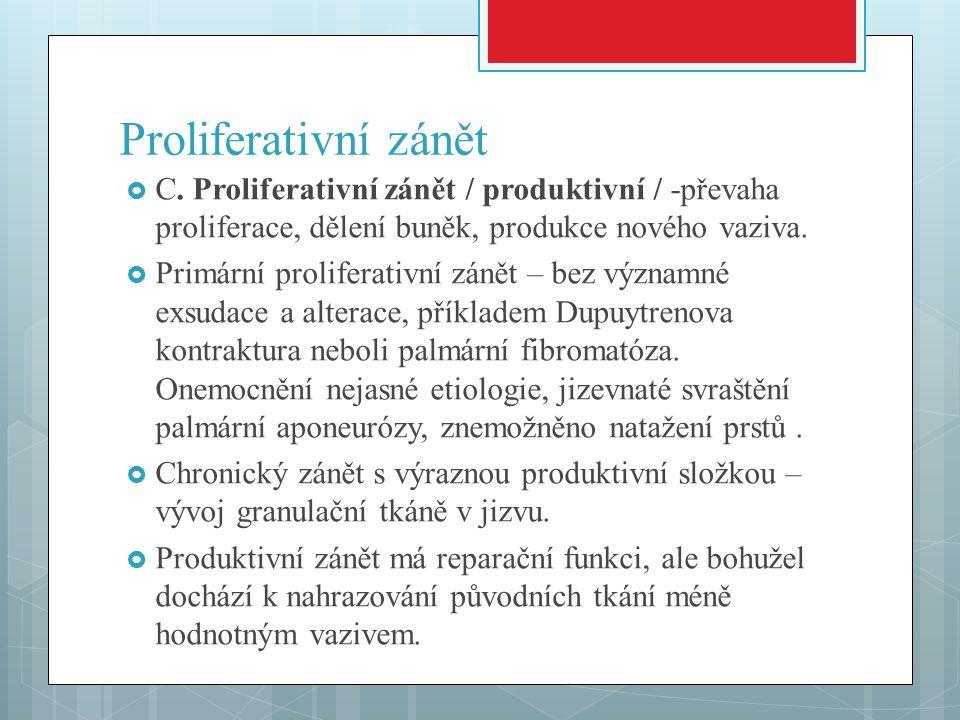 Proliferativní zánět  C.