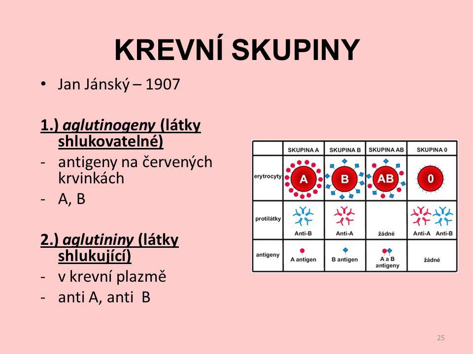 KREVNÍ SKUPINY Jan Jánský – 1907 1.) aglutinogeny (látky shlukovatelné) -antigeny na červených krvinkách -A, B 2.) aglutininy (látky shlukující) -v krevní plazmě -anti A, anti B 25