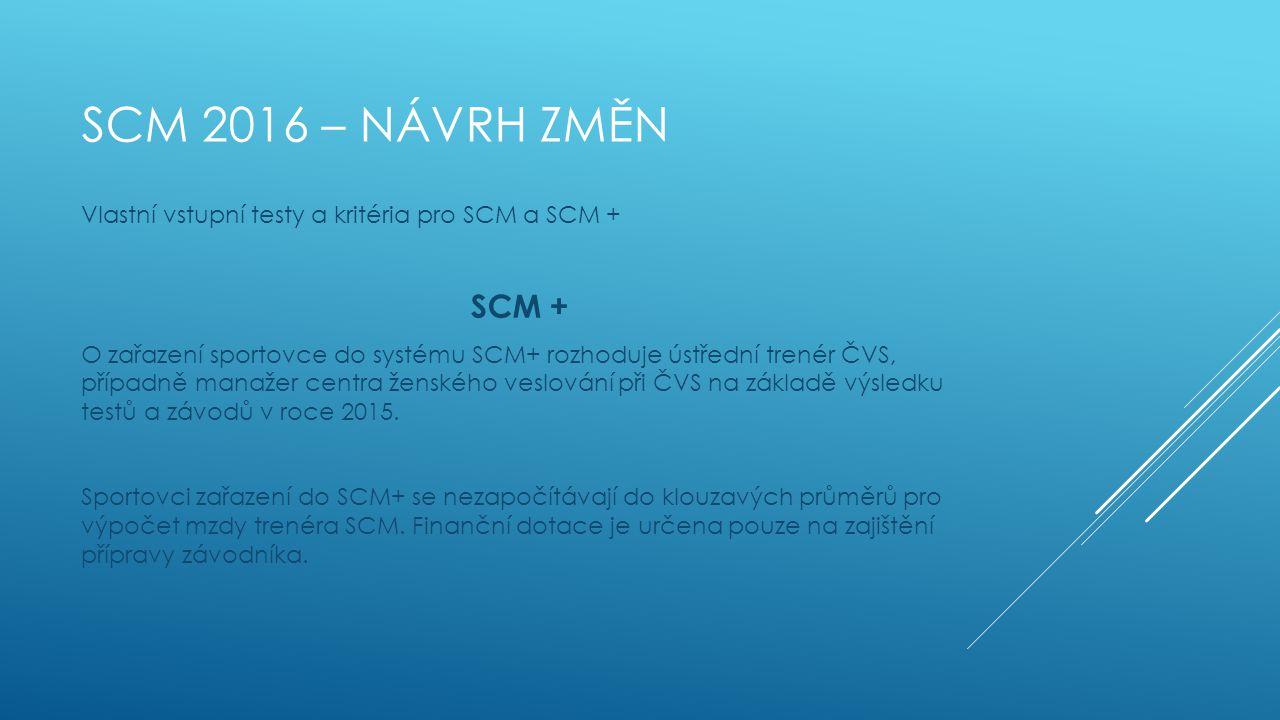 SCM 2016 – NÁVRH ZMĚN Vlastní vstupní testy a kritéria pro SCM a SCM + SCM + O zařazení sportovce do systému SCM+ rozhoduje ústřední trenér ČVS, přípa